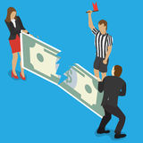 Fighting over money. Businessman and business woman fights over for money, pulling the dollar bill to opposite sides and judge with a flag for business Royalty Free Stock Photos