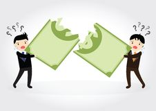Fighting over money. Businessman fight over for dollar money Stock Photo
