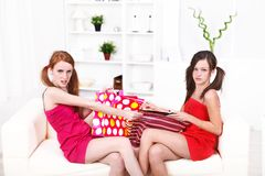 Fighting over presents Royalty Free Stock Photo