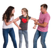 Fighting parents and daughter Royalty Free Stock Images