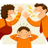 Fighting parents. Man and woman arguing loudly next to a nervous boy Royalty Free Stock Image