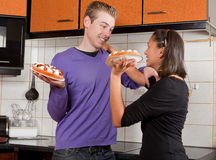 Fighting with pies Royalty Free Stock Image
