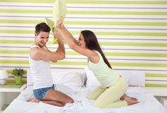 Fighting pillows Stock Images