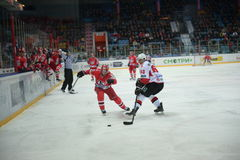 Fighting between the player Artem Gareev and Maxim Kondratiev Stock Image