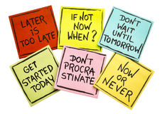Fighting procrastination - set of motivational notes stock photo