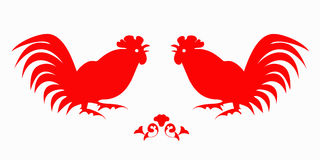 Fighting of red roosters on a white Royalty Free Stock Images