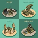 Fighting Robots 2x2 Design Concept. Set of  infantry sappers fighting vehicles and machine guns square compositions isometric vector illustration Stock Photo