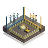 Controlled Robots Isometric Design Concept. Fighting robots exhibition design concept with teens controlling remotely for two iron monsters isometric vector Royalty Free Stock Images