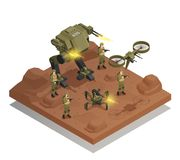 Fighting Robots Isometric Composition. With walking tank infantry stormtrooper drone decorative icons vector illustration Royalty Free Stock Photo