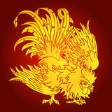 Fighting rooster gold on red background Stock Photo