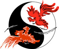 Fighting roosters. With an yin-yang symbol on the background Stock Image