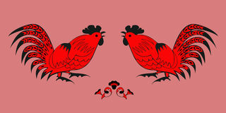Fighting of roosters on a red background Stock Images
