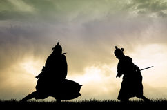 Fighting Samurai. Illustration of Samurai at sunset Royalty Free Stock Photos