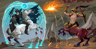 Fighting scene between dark elf and centaur. Fantasy vector illustration Royalty Free Stock Photos