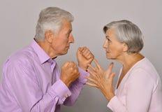 Fighting senior couple Royalty Free Stock Photography