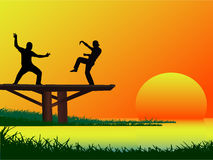 Fighting Session on the bridge. Work with vectors Stock Photos