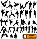Fighting silhouettes collection Stock Image