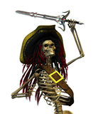 Fighting Skeleton Pirate. A skeleton pirate with dreadlocks is raising his sword - 3D render Royalty Free Stock Image