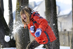 Fighting with snow Royalty Free Stock Photography