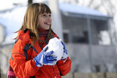 Fighting with snow Stock Photography