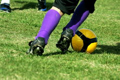 Fighting for soccer  ball Stock Photography