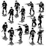 Fighting soldiers. Set of fighting soldiers silhouettes isolated on white. Vector illustration Stock Images