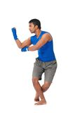 Fighting stance. Indian kick boxer standing in fighting stance royalty free stock photo