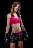 Fighting, strong woman athlete with boxing gloves Royalty Free Stock Image