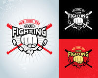 Fighting t shirt design, logotype, boxing monochrome  label , badge , logo for hipster flyer. Vector illustration. Stock Photos