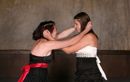 Fighting teen girls. Two pretty teen girls fighting physically in dresses Stock Photos
