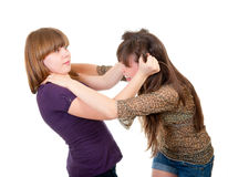 Fighting teen girls isolated Stock Photos