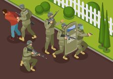 Fighting Terrorists Isometric Illustration. Military special forces during fighting terrorists isometric composition with detention of criminal vector Stock Images