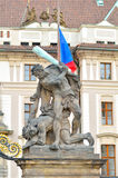 Fighting titan statue at Prague castle entrance Royalty Free Stock Photography