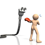 He is fighting to save power. This is a computer generated image,on white background Stock Images