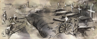 The fighting in the trenches - Hand drawn illustra Royalty Free Stock Photography