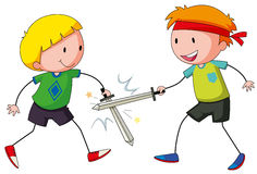 Fighting. Two boys playing sword fight Stock Photos