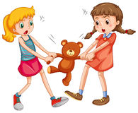 Fighting. Two girls fighting for a teddy bear Stock Images