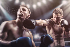 Fighting. Two professional boxers fighting in the ring stock photography