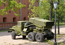 Fighting vehicle of BM-21 (RSZO  Hail) on the basis of the Urals-375Д car Royalty Free Stock Photography