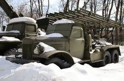Fighting vehicle of reactive artillery BM-13 `Katyusha`. Russia, Moscow. The barren system of field jet artillery Model 1941 Stock Photo