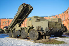 Fighting vehicle reactive volley-fire systems 9A52 `Smerch` closeup of a Sunny January day. Saint Petersburg Royalty Free Stock Photos