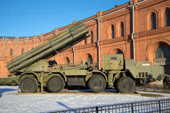 Fighting vehicle reactive volley-fire systems 9A52 `Smerch`. Saint Petersburg. SAINT PETERSBURG, RUSSIA - JANUARY 20, 2017: Fighting vehicle reactive volley-fire Royalty Free Stock Photos