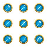 Fighting weapon icons set, flat style. Fighting weapon icons set. Flat set of 9 fighting weapon vector icons for web isolated on white background Stock Image