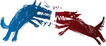 Fighting wolves illustration. Illustration of Two Angry Fighting Wolves Baring their Teeth Stock Photos