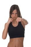 Fighting woman - focus on face Royalty Free Stock Photos