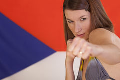 Fighting woman over czech flag Royalty Free Stock Photos