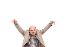 Fighting at work problems. Elderly man fooling around after work Royalty Free Stock Photos