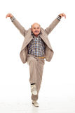 Fighting at work problems. Elderly man fooling around after work Stock Photo