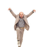 Fighting at work problems. Elderly man fooling around after work Stock Image