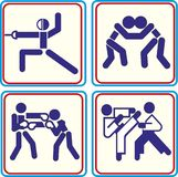 Fighting, wrestling martial arts and boxing icons Vector icons for digital and print projects. Fighting, wrestling, martial arts and boxing icons. Vector icons Royalty Free Stock Photography